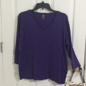 EUC ❤️ Purple L/S, V neck Tee by Anne Klein..1X